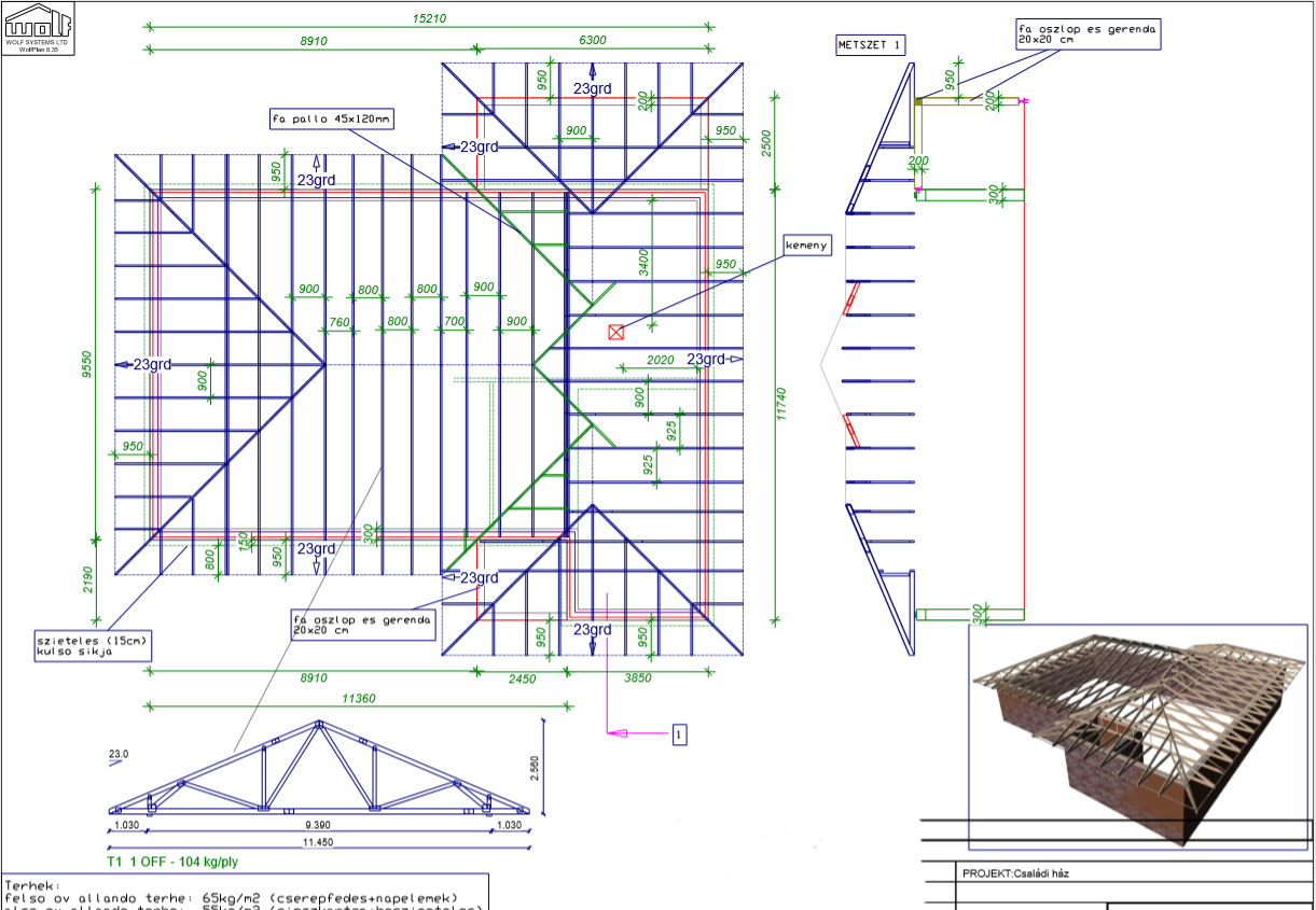 Számítógépes tetőszerkezet tervezés